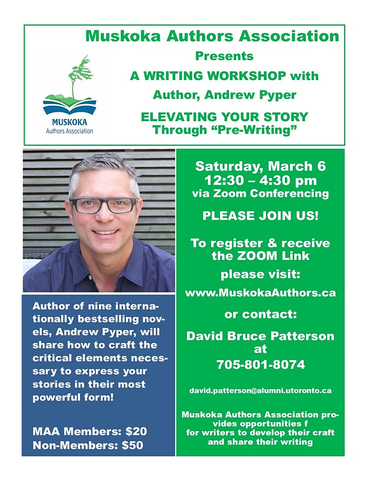 """Andrew Pyper Workshop - Elevating Your Story Through """"Pre-Writing"""" image"""
