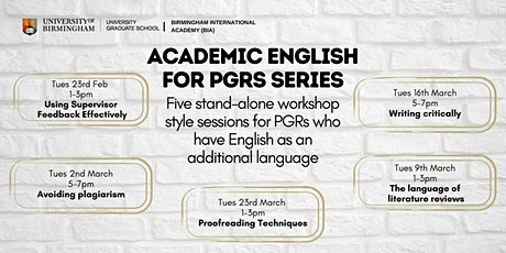 Academic English for PGRs: Proofreading Techniques tickets