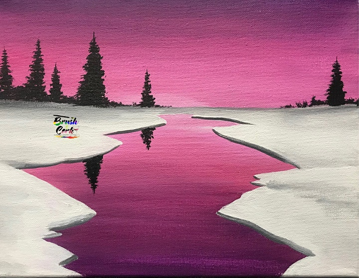 Snowy Sunset Virtual Paint Party (All Ages 6+ Welcome) image