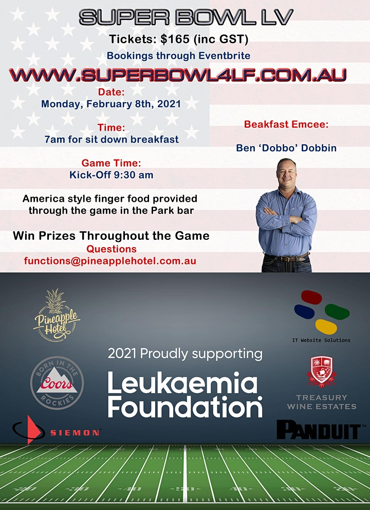 Super Bowl LV at the Pineapple Hotel Supporting the Leukaemia Foundation image
