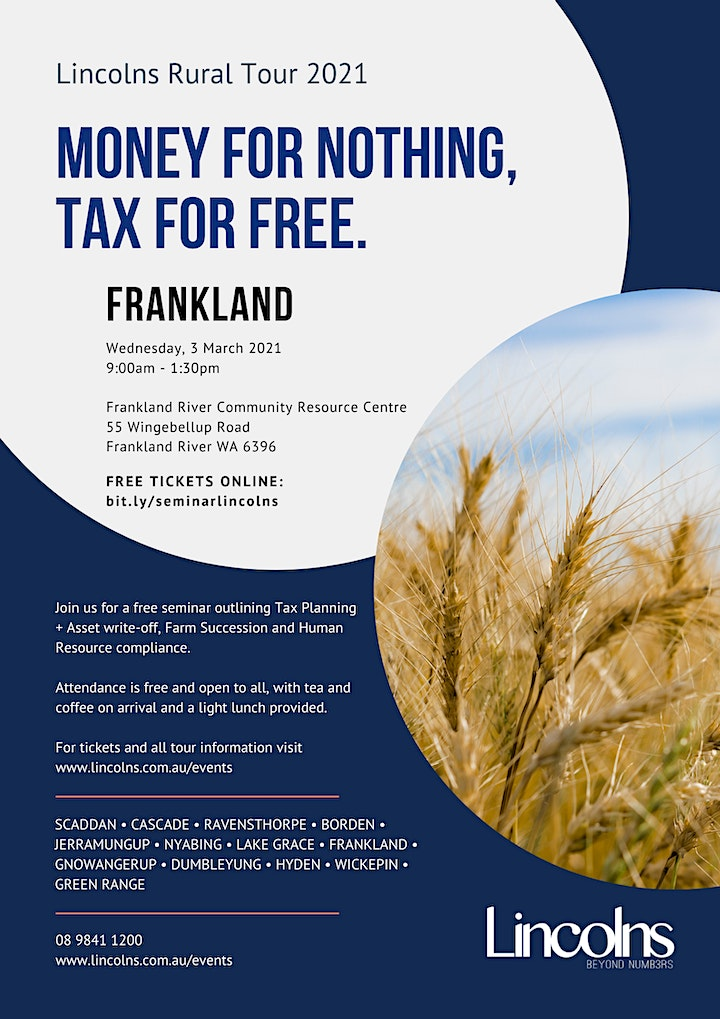 FRANKLAND Money for nothing, Tax for free! - Lincolns Seminar image