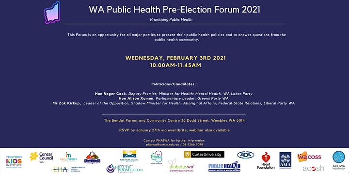 WA Public Health Pre-Election Forum 2021 - POSTPONED image