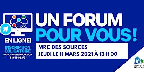 Forum Mobilisation Immigration Estrie / MRC des Sources billets