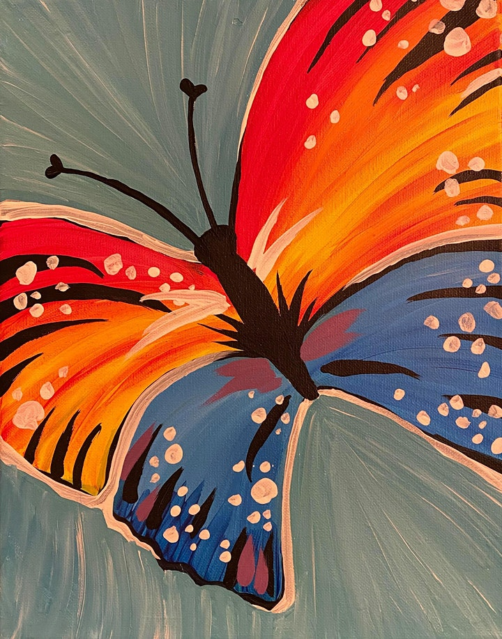VIRTUAL PAINT NITE - Colorful Butterfly image