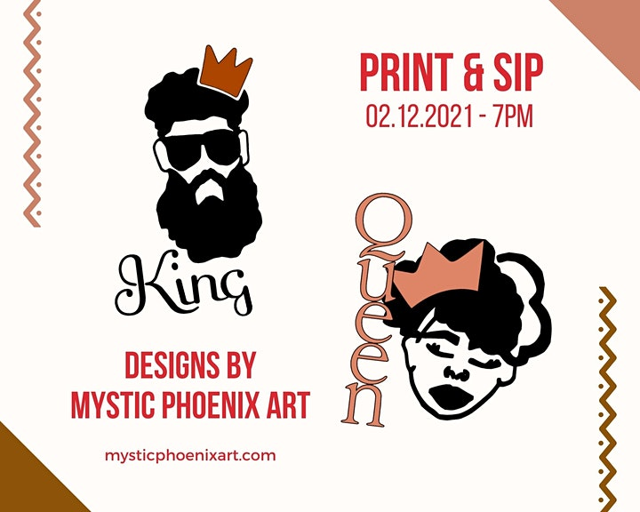 Print & Sip Event: Valentine's Themes by Mystic Phoenix Art (Limited to 12) image