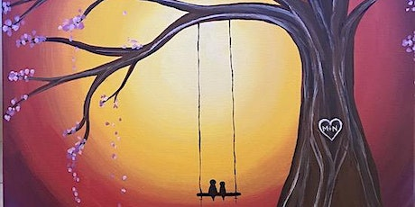"""""""Lovebirds on a Swing"""" - Live Online Paint & Sip Event tickets"""