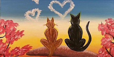 """""""Cats in Love"""" - Live Online Paint & Sip Event tickets"""