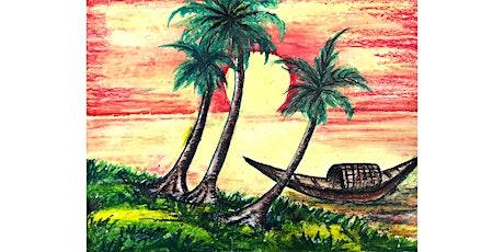 60min Pastel Techniques Art Lesson- Sunset Beach  @5PM (Ages 7+) tickets
