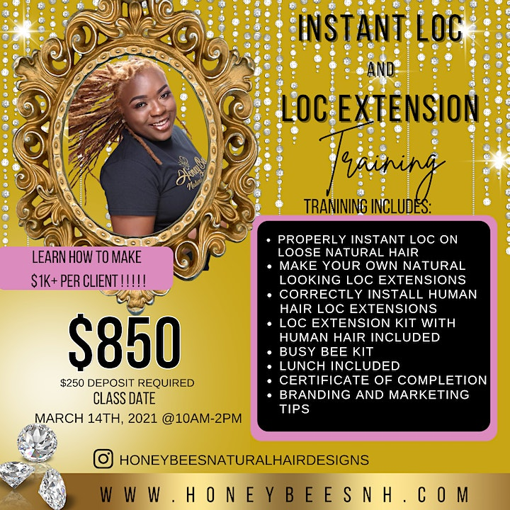 Honey Bee's Instant Loc and Loc Extension Training $850 ($250 Deposit) image