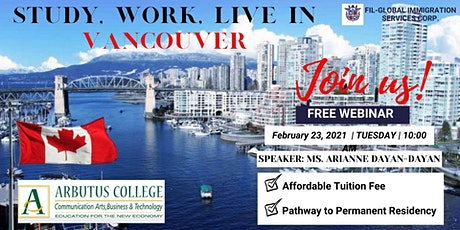 FREE WEBINAR : STUDY, WORK AND LIVE IN VANCOUVER CANADA tickets