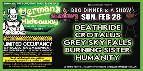 DEATHRIDE | CROTALUS | GREY SKY FALLS | BURNING SISTER | HUMANITY tickets