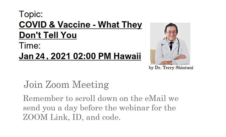 COVID and the Vaccine: What They Don't Tell You,Sun. Jan.24, 2pm Webinar image