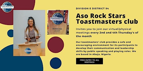 Aso Rock Stars Toastmasters monthly meetings tickets