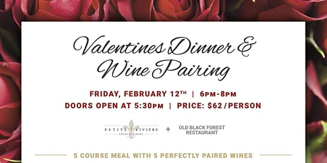 Valentines Dinner & Wine Pairing tickets