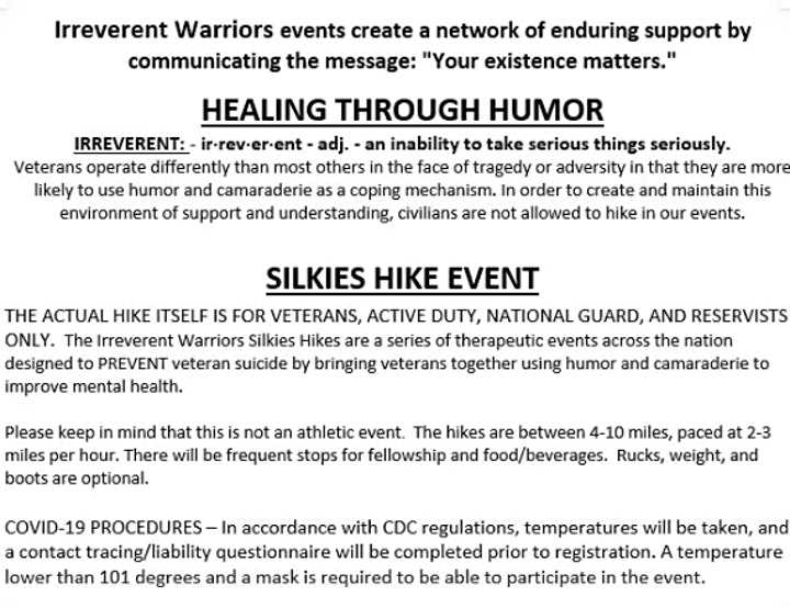 Irreverent Warriors Silkies Hike- Milford MA image