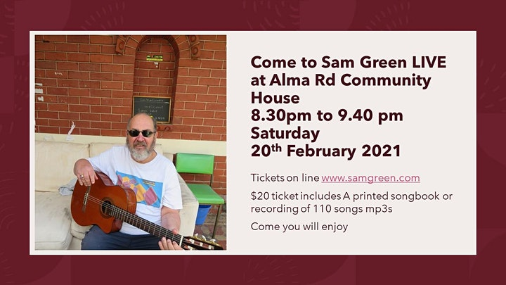 Sam Green live concert at Alma Rd. Community House image