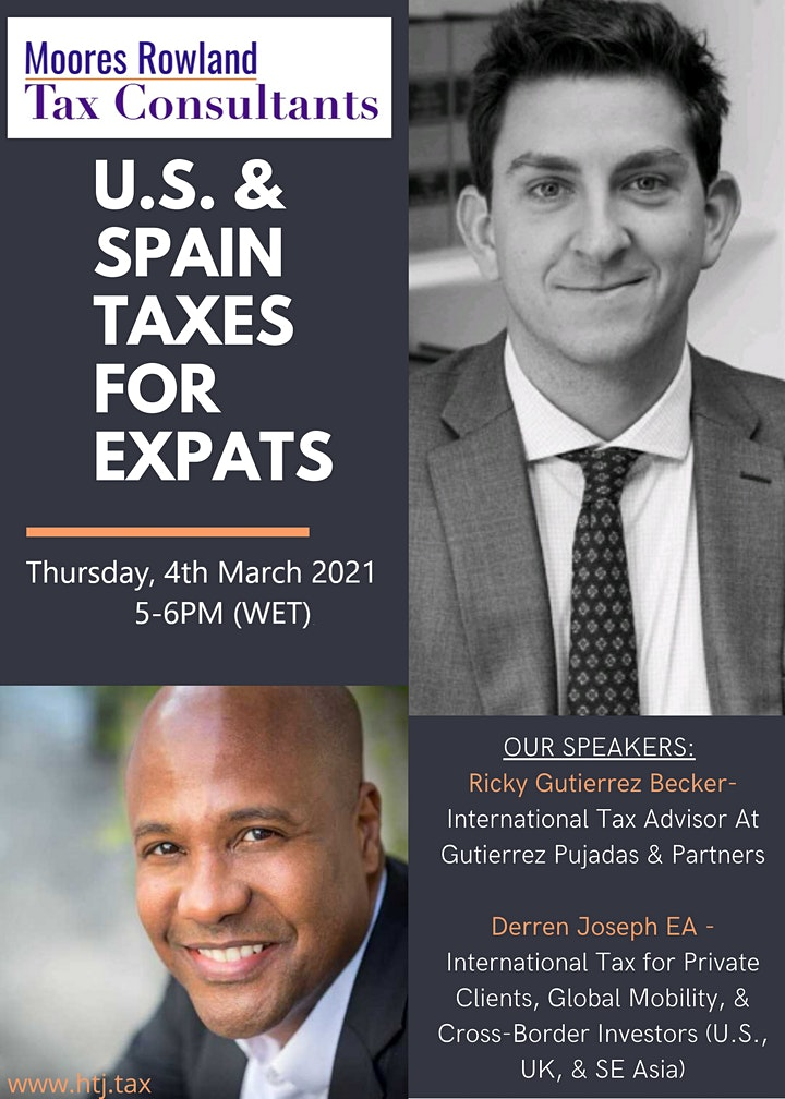 Webinar on U.S. /SPAIN TAXES FOR EXPATS (Madrid, Spain Time) image
