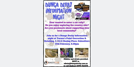 2021 Dunga Derby  Information Night - Turners Paint Correction & Detailing tickets