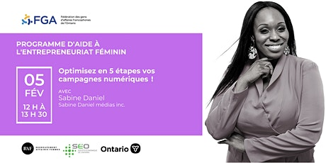 Programme d'aide à l'entrepreneuriat féminin - Atelier de Sabine Daniel billets