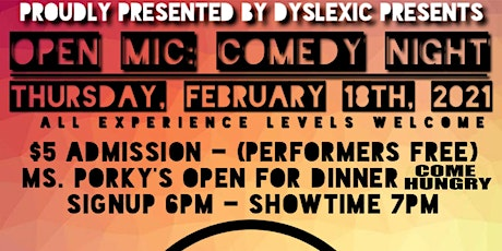 DINNER + OPEN MIC COMEDY NIGHT | OPEN SIGN UP | ALL EXP. LEVELS tickets