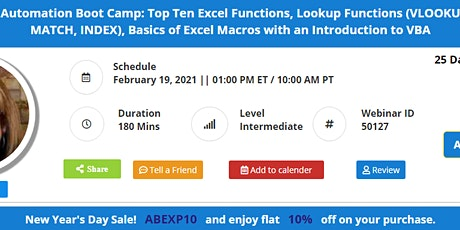 3-Hour Excel Automation Boot Camp: Top Ten Excel Functions, Lookup Function tickets
