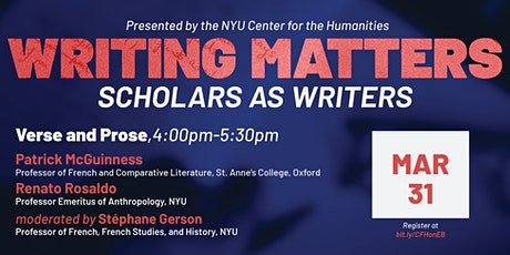 Writing Matters: Scholars as Writers — Verse and Prose tickets