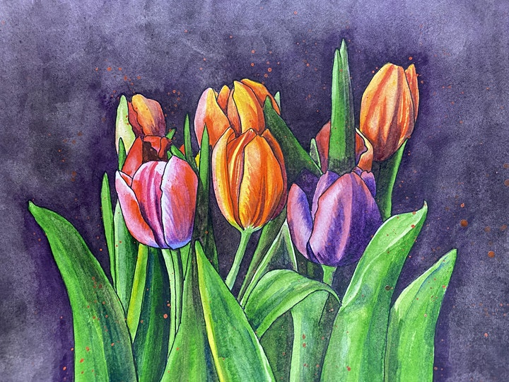 Paint Tulips in Watercolours image