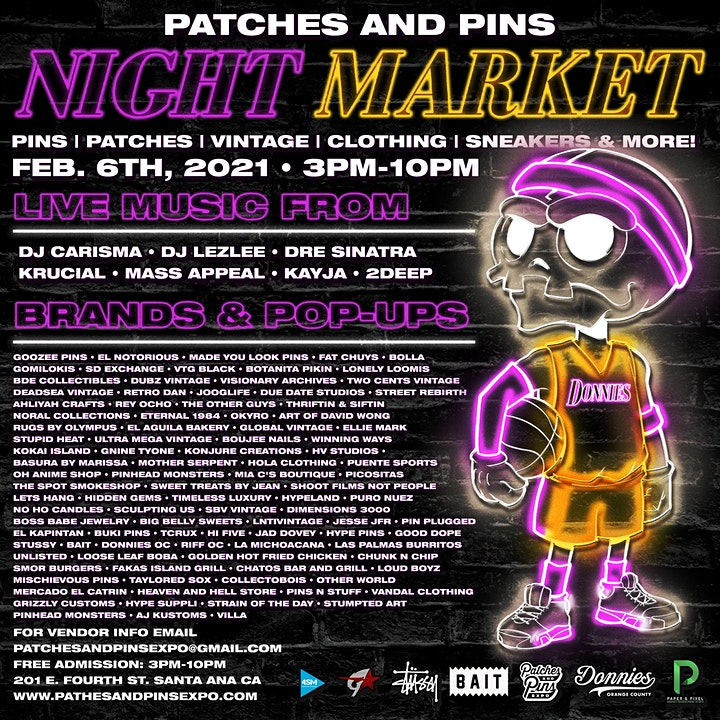 """Patches & Pins Flea Market at Night """"Purple n Gold Nights"""" image"""