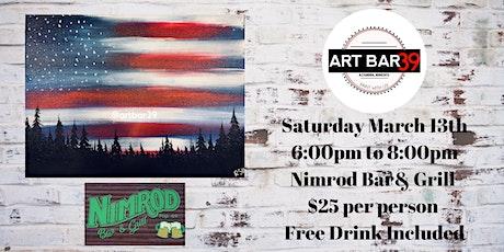 Nimrod Bar & Grill Paint and Sip|Nimrod MN|Patriotic Wood tickets
