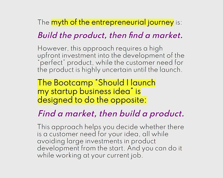 """Online bootcamp """"Should I launch my startup business ides?"""" image"""