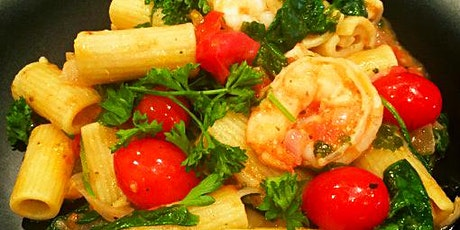 Come Cook With Me | Shrimp Rigatoni w/Cherry Tomatoes  and Spinach tickets