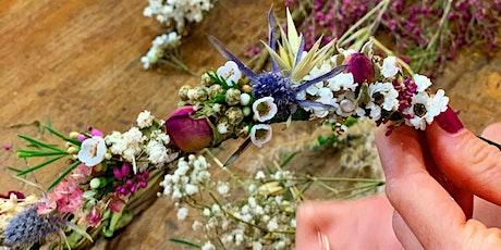 Atelier couronne de tête en fleurs séchées billets