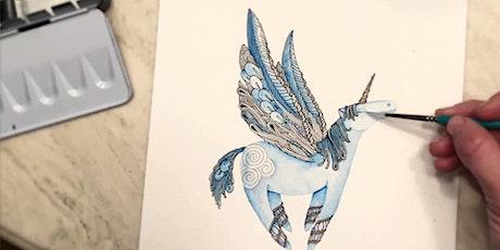 Zentangle® Meets Watercolor - Pegasus tickets