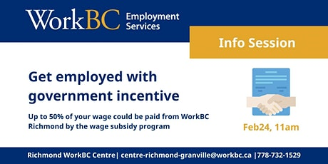 Feb24 WorkBC Wage Subsidy Program: Get Employed with Government's Incentive tickets