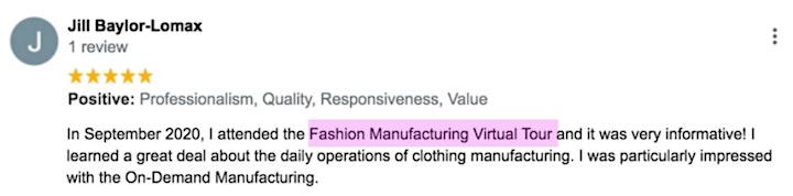 International Fashion Manufacturing Tour - Virtual image
