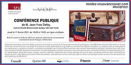 """Rencontre avec Jean-Yves Defay """"Les secrets de la valise diplomatique"""" billets"""