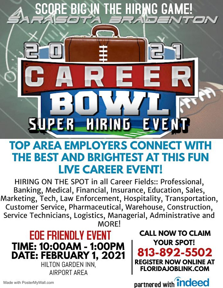 CAREER SUPER BOWL 2021 JOB FAIR - LIVE EVENT  - TAMPA BAY'S BEST EMPLOYERS! image