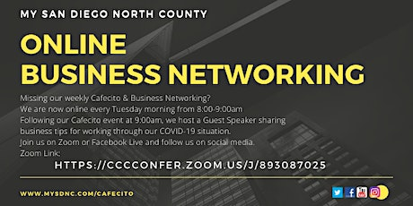 Online Business Networking - Cafecito Tuesday,  March 9th tickets