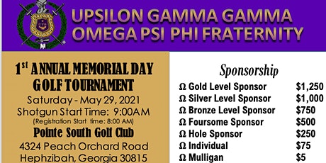 Upsilon Gamma Gamma 1st ANNUAL MEMORIAL DAY GOLF TOURNAMENT tickets