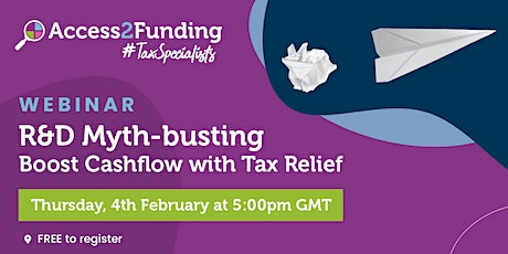 R&D Myth Busting - Boost your Cashflow with R&D Tax Credits tickets
