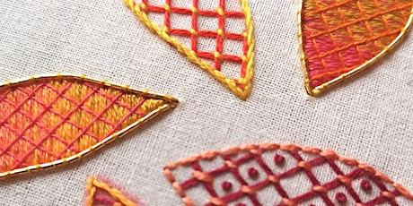 Hand Embroidery - Trellis Stitch & Laid Work tickets