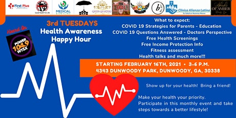 3rd Tuesdays Health Awareness Happy Hour Beginning 2-16-21 tickets