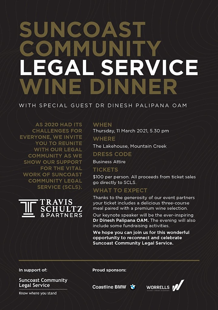 SOLD OUT Suncoast Community Legal Service Wine Dinner image
