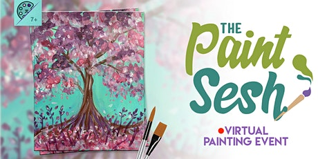 """Online Painting Class – """"Blooming Tree"""" (Virtual Paint Night at Home) tickets"""