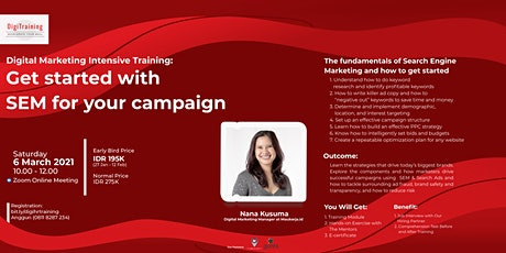Digital Marketing Intensive Training:Get Started With SEM For Your Campaign tickets