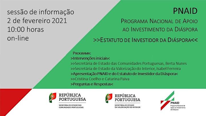 """imagem Sessão de informação """"PNAID e Estatuto do Investidor da Diáspora"""""""
