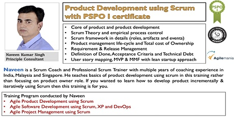 Product Development using Scrum with PSPO I certificate - Singapore tickets
