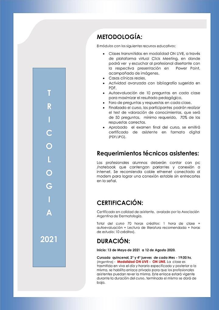 Imagen de CURSO ONLINE DE TRICOLOGIA – 2021 - MODALIDAD ON LINE - ON LIVE