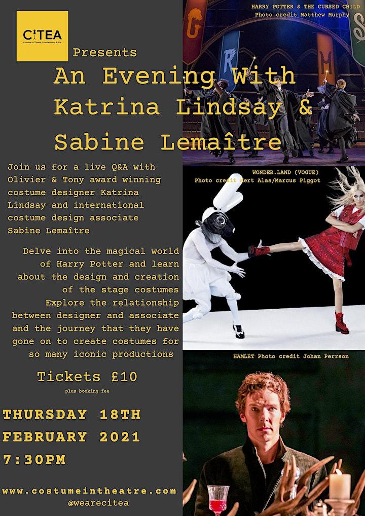 An Evening With: Katrina Lindsay & Sabine Lemaître image