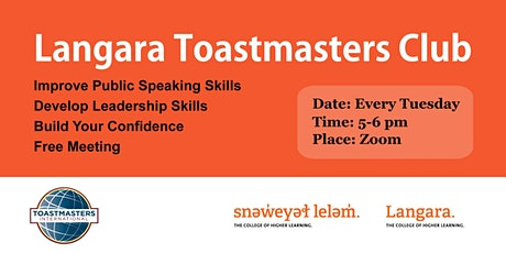 Langara Toastmasters Club Online Public Speaking Meeting tickets